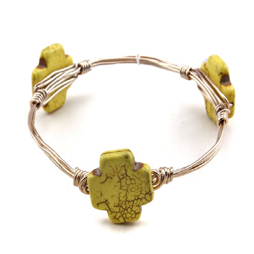 CROSS WIRE BANGLE - YELLOW