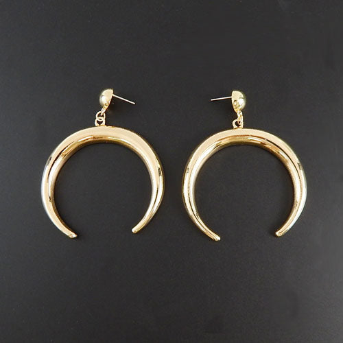 Gold crescent earring