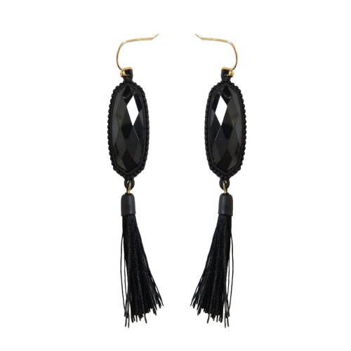 GEOMETRIC W/ TASSEL EARRING - BLACK