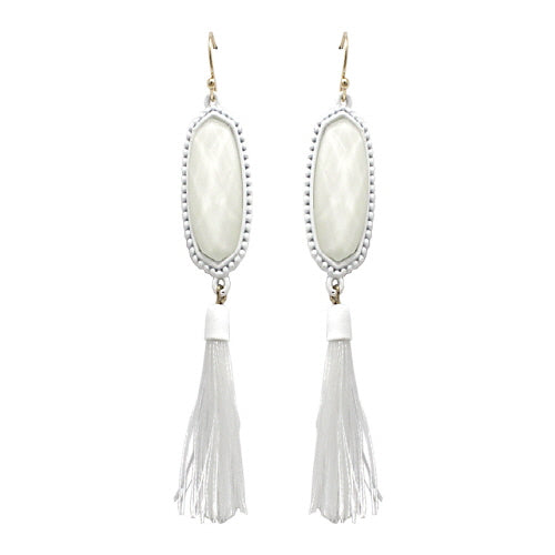 GEOMETRIC W/ TASSEL EARRING - WHITE
