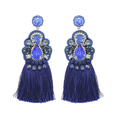 Fancy Tassel earring - blue