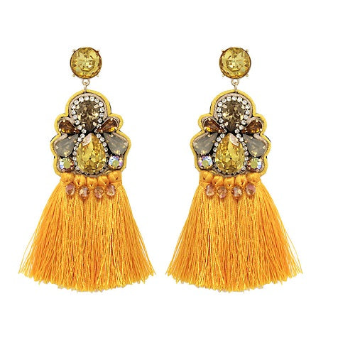 Fancy Tassel earring - mustard