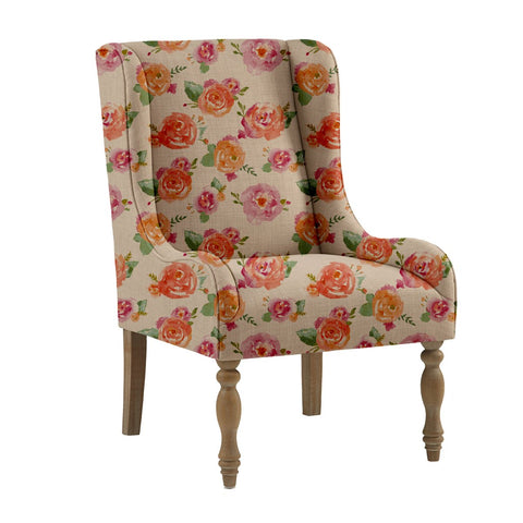 Painted Roses Wing Chair - Haus and Sie