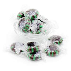chocolate starlight mints in a bowl