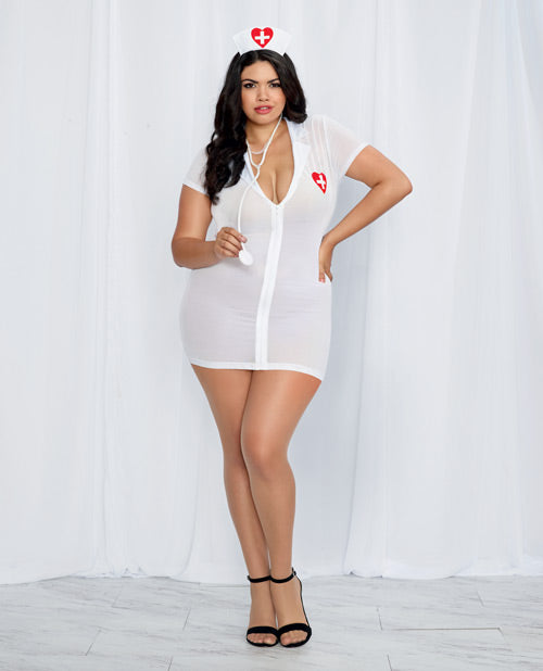 3 Pc Stretch Mesh Chemise W-front Zipper, Hat, & Stethoscope White-red Qn