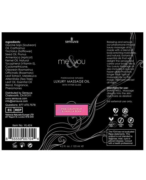 Sensuva Me & You Massage Oil - 4.2 Oz Grapefruit Vanilla