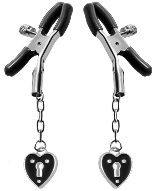 Master Series Charmed Heart Padlock Nipple Clamps