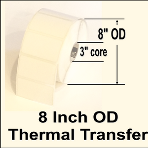 "620-STT-4-6 4"" X 6"" Thermal Transfer blank white paper label, perminent adhesive, NO perferation between labels, 3"" core, 8"" OD, 1000 labels per roll, 4 rolls per case, Sold by the case"