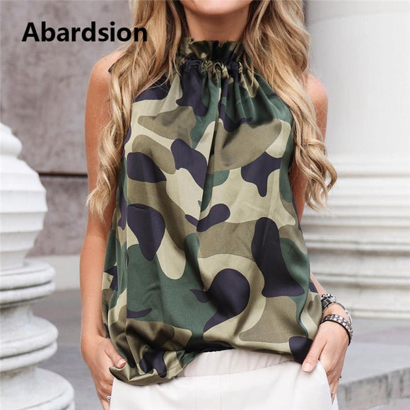 Abardsion Camouflage Tops 2019 Women Summer Leopard Tshirt Floral Print Casual Sleeveless Vest Fashion Female T-Shirt Top