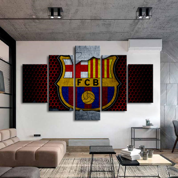 Barcelona Football Club Flag Logo Posters HD 5 Pieces Canvas Paintings Wall Art Prints Pictures Boys Sports Bedroom Decor Frame