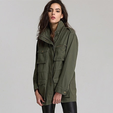 CamKemsey Military Army Green Jacket Coat Women 2018 Spring Autumn Casual Pockets Long Sleeve Hooded Jacket Women Overalls