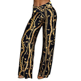 Causal Women Gold chain Print Pants Wide Leg Pant Loose Straight Trousers Female Streetwear High Waist Summer Pants Long Trouser