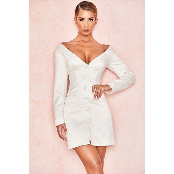 DEIVE TEGER 2019 New Summer White Celebrity Evening Party Dress Sexy Long Sleeve Deep V Neck Runway Club Dress BY1037