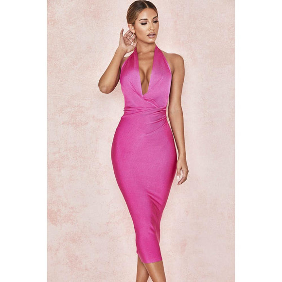 DEIVE TEGER 2019 New Summer Women Bodycon Bandage Dress Sexy Halter V Neck Backless Club Dress Rose Red Celebrity Evening Party
