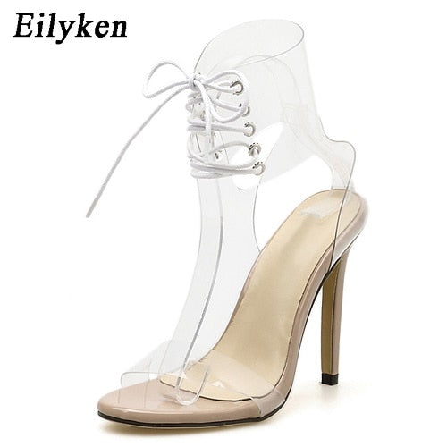 Eilyken 2019 PVC Jelly Lace-Up Sandals Open Toed High Heels Sexy Women Transparent Heel Sandals Party Pumps 11CM Sales Promotion