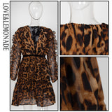 Love&Lemonade Deep V-Neck Ruffled High-Rise Leopard-Print Chiffon Long-Sleeved Party Dress  LM81501