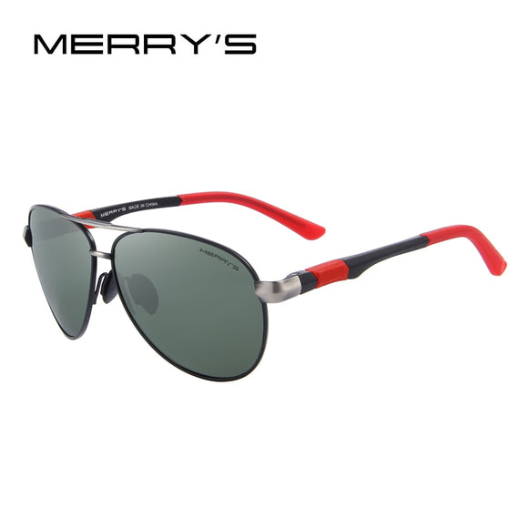 MERRYS DESIGN Men Classic Pilot Sunglasses HD Polarized Sunglasses For Driving Aviation Alloy Frame Spring Legs UV400 S8404