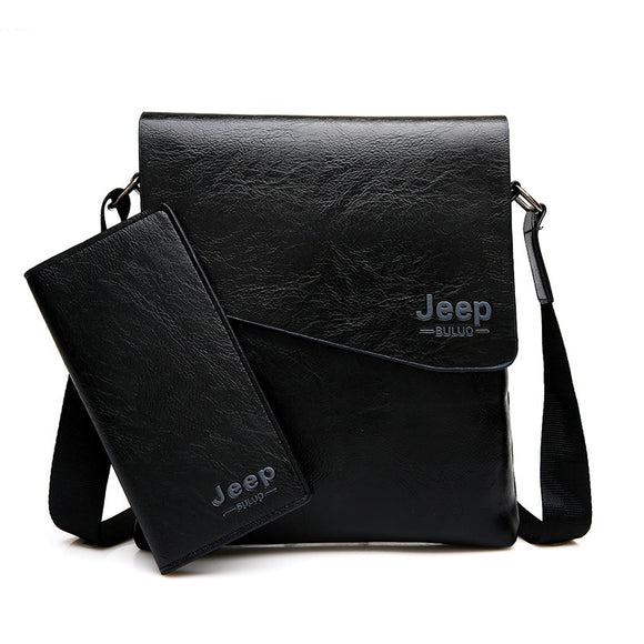Men Bag JEEP BULUO Famous Brand 2 pcs Set Man Leather Messenger Shouder Bag Business Travelling Bags Male Tote Cross body Bags