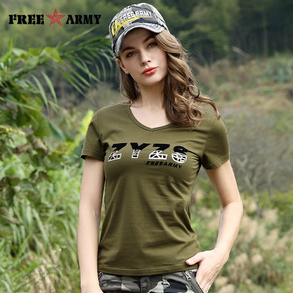 Military Fashion Tees Letter T Shirts Woman Summer Cotton Army Green Camouflage Tshirt Short Sleeve Women Tops Female T-shirt