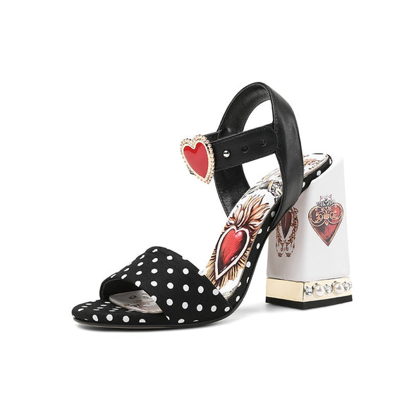 Pearled crystal black round dot  High Heels Gladiator Sandals love heart flowers embellished Women Pumps summer wedding shoes