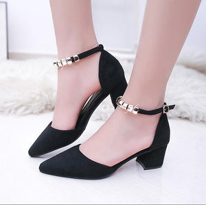 2017 Women Pumps Beading Ankle Strap Sexy High Heel Shoes Thick Heel pointed Toe Shoes Pink Womens dress Shoes Size 41 s079