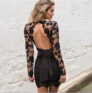 2018 Women Deep V-neck Long Sleeve Lace  Floral  dress  backless Mini Bodycon Dress