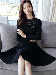 Plain Patchwork Women's Long Sleeve Dress