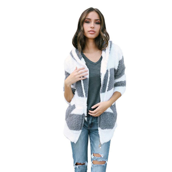 FEITONG Women Patchwork Cardigan Coat Fashion Street Style Hooded Winter Coat Spliced
