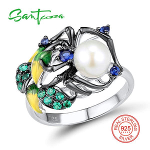 SANTUZZA Silver Ring For Women 925 Sterling Silver Fashion Spider Rings for Women Cubic Zirconia Ringen Party Jewelry Enamel