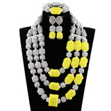 Trendy African Beads Necklace New Sky Blue Gold Flower Pendant Wedding Necklace Set Costume Jewelry Set for Women Gift ABH614