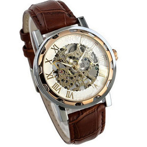 2018 Top Selling Luxury Mans Leather Band Stainless Skeleton Mechanical Wrist Watch