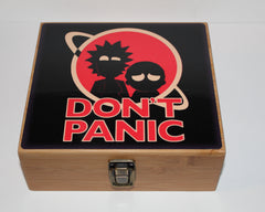 "Large Rick and Morty ""Don't Panic"" Bamboo Stash Box Set- Clear Jar"