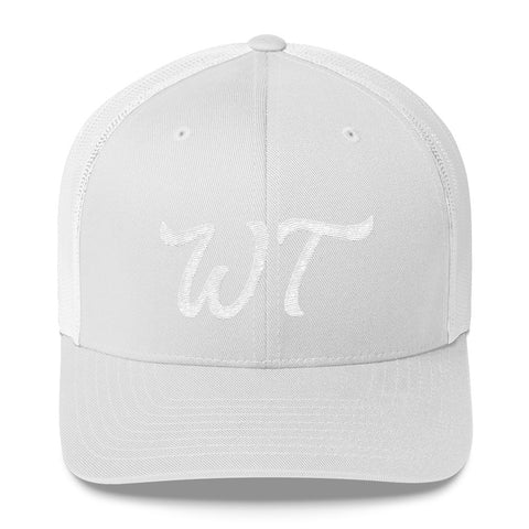 WT White Embroidery Trucker Cap