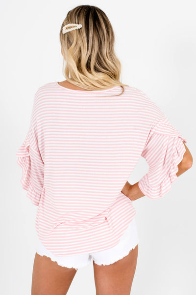 Pink White Striped Cute Oversized Ruffle Tops Affordable Online Boutique