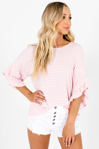 Pink White Striped Ruffle Sleeve Tops Affordable Online Boutique