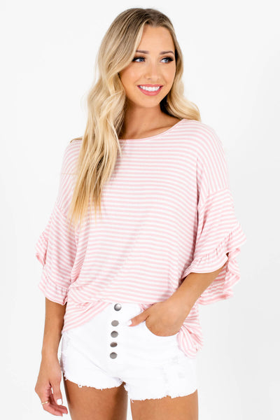 Pink White Striped Oversized Stretchy Tops with Ruffle Sleeves