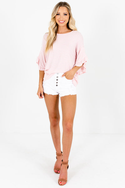 Pink White Striped Boutique Tops with Ruffle Sleeves and Oversized Fit