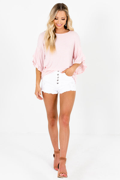 Pink White Striped Cute Stretchy Oversized Ruffle Tops for Women