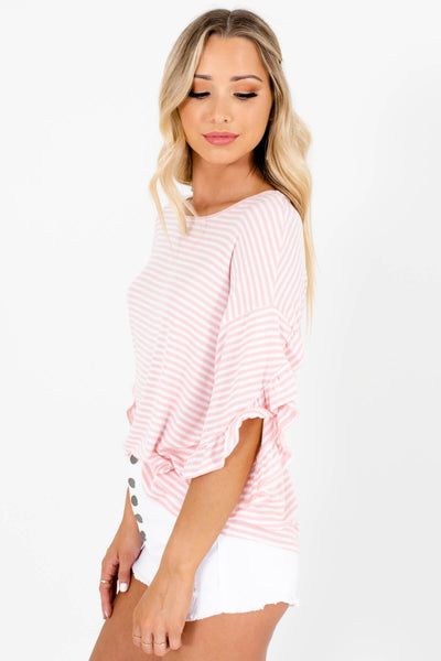 Pink White Striped Cute Comfy Tops Affordable Online Boutique