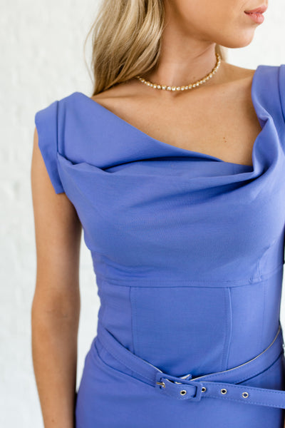 Periwinkle Blue Asymmetrical Business Womens Wear Dresses