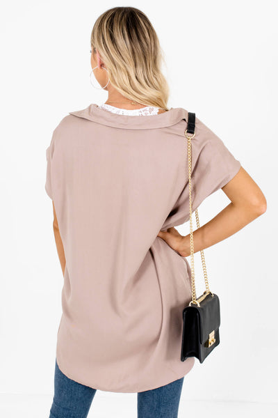 Women's Taupe Brown High-Low Hem Boutique Shirts