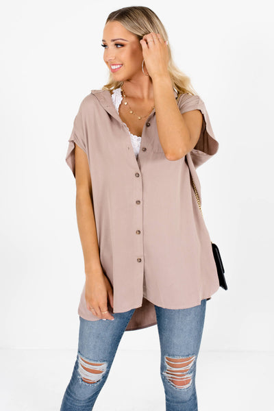 Taupe Brown Cute and Comfortable Boutique Shirts for Women