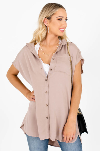 Women's Taupe Brown Front Pocket Boutique Shirts