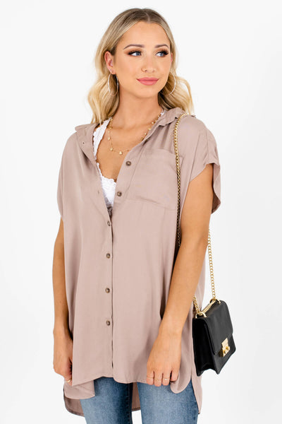 Taupe Brown Button-Up Front Boutique Shirts for Women