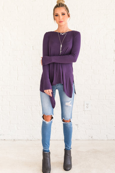 Purple Flowy and Flattering Boutique Tops for Women