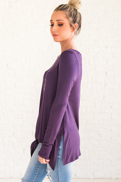 Cute Purple Long Sleeve Tie Front Boutique Tops for Women