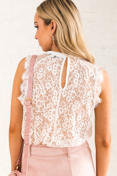 White Lace Women's Boutique Top with Keyhole Back Detail