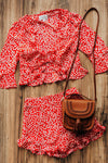 Red and White Floral Cute Dressy Boutique Two-Piece Sets for Women