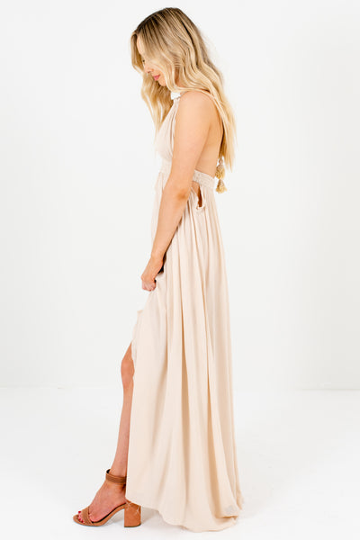 Beige Cut Out Open Back Maxi Dresses with Ombre Tassel Ties