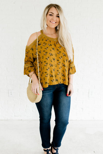 Mustard Yellow Lightweight Flowy Boutique Plus Size Tops for Women